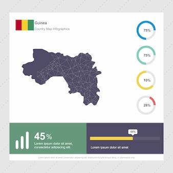 Modèle d'infographie de carte et de drapeau de la guinée