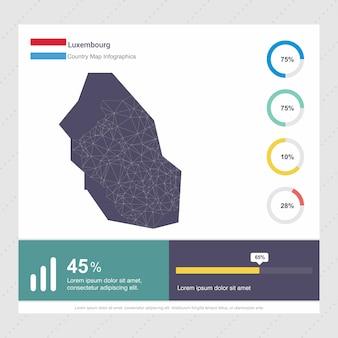 Modèle d'infographie de carte et drapeau de luxembourg