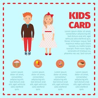 Modèle d'infographie carte enfants cheveux roux
