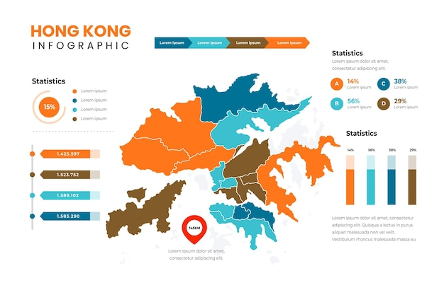 Modèle d'infographie de carte de hong kong design plat