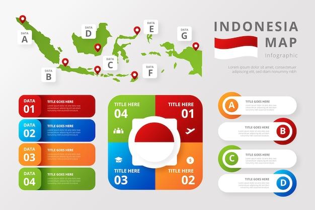 Modèle d'infographie de carte d'indonésie dégradé