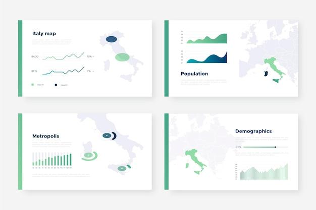 Modèle d'infographie de carte isométrique italie