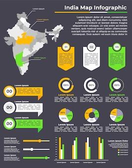 Modèle d'infographie de carte linéaire de l'inde