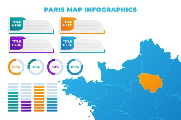Modèle d'infographie de carte de paris dégradé