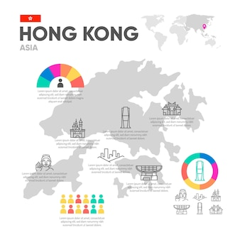 Modèle d'infographie de carte plat de hong kong