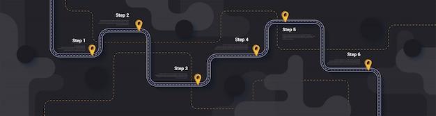 Modèle d'infographie carte route et itinéraire de voyage
