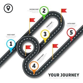 Modèle d'infographie de cartographie voyage route feuille de route avec des épingles et des drapeaux. carte avec route