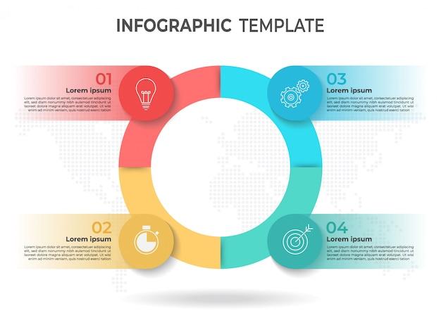 Modèle d'infographie de cercle 4 options.