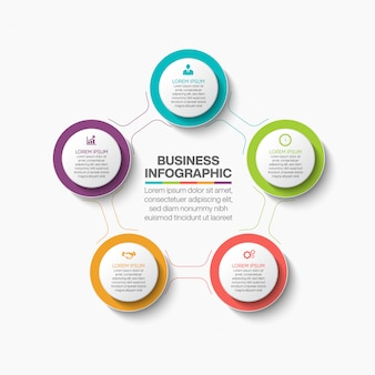 Modèle d'infographie de cercle d'affaires de présentation