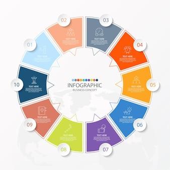 Modèle d'infographie de cercle de base avec 10 étapes, processus ou options