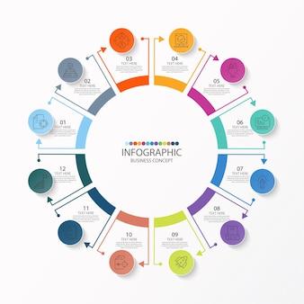 Modèle d'infographie de cercle de base avec 12 étapes