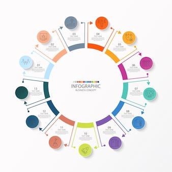 Modèle d'infographie de cercle de base avec 13 étapes