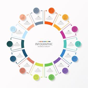 Modèle d'infographie de cercle de base avec 14 étapes