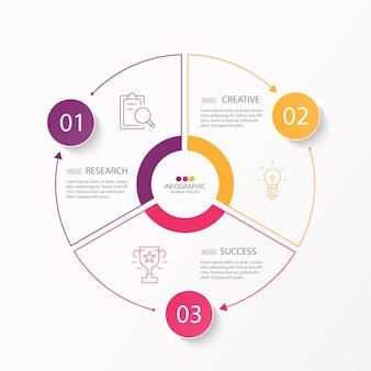 Modèle d'infographie de cercle de base en 3 étapes