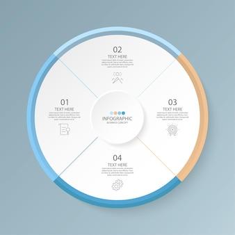 Modèle d'infographie de cercle de base en 4 étapes