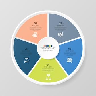 Modèle d'infographie de cercle de base avec 5 étapes, processus ou options, organigramme de processus, utilisé pour le diagramme de processus, les présentations, la mise en page du flux de travail, l'organigramme, l'infographie. illustration vectorielle eps10.