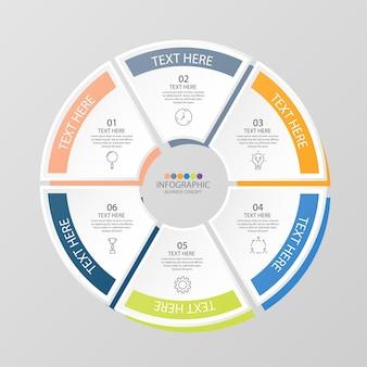 Modèle d'infographie de cercle de base avec 6 étapes, processus ou options, organigramme de processus, utilisé pour le diagramme de processus, les présentations, la mise en page du flux de travail, l'organigramme, l'infographie. illustration vectorielle eps10.