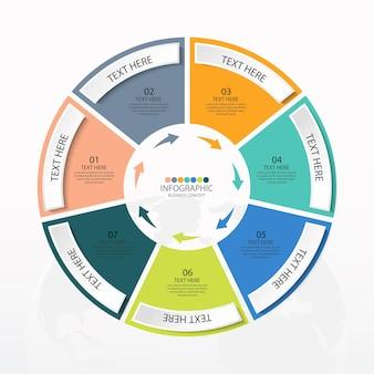 Modèle d'infographie de cercle de base avec 7 étapes, processus ou options, organigramme de processus, utilisé pour le diagramme de processus, les présentations, la mise en page du flux de travail, l'organigramme, l'infographie. illustration vectorielle eps10.