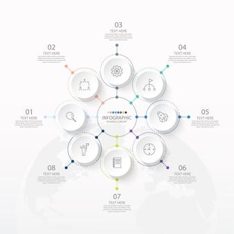 Modèle d'infographie de cercle de base avec 8 étapes, processus ou options