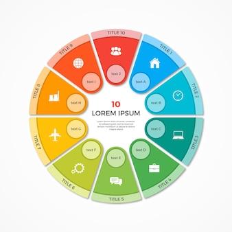 Modèle d'infographie de cercle de camembert vectoriel avec 10 options