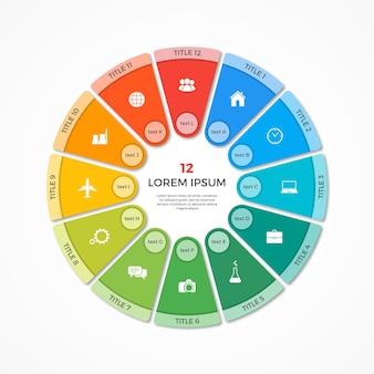 Modèle d'infographie de cercle de camembert vectoriel avec 12 options