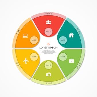 Modèle d'infographie de cercle de camembert vectoriel avec 6 options