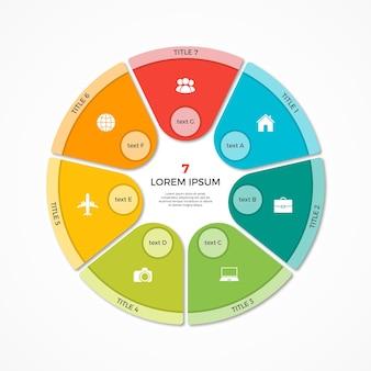 Modèle d'infographie de cercle de camembert vectoriel avec 7 options