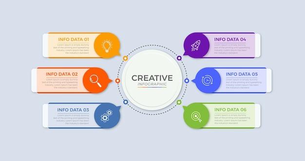 Modèle d'infographie de cercle de chronologie 5 options ou étapes.