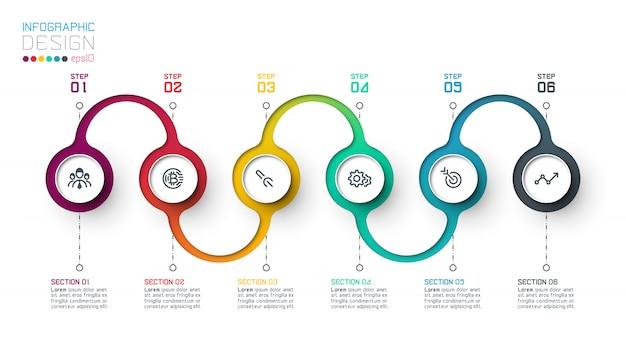 Modèle d'infographie cercle étiquette avec étape par étape.