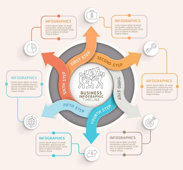 Modèle d'infographie de cercle de flèche en 6 étapes.