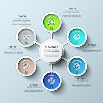 Modèle d'infographie cercle flèche avec six options