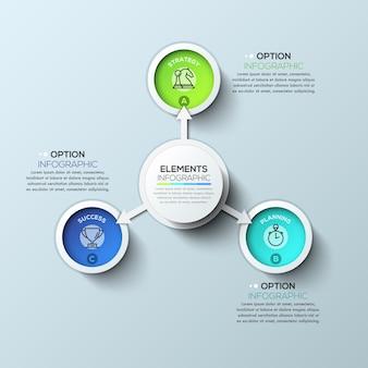 Modèle d'infographie cercle flèche avec trois options