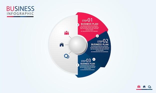 Modèle d'infographie de cercle avec quatre étapes ou options. diagramme de processus utilisé dans l'enseignement avec un business plan vector illustration eps10