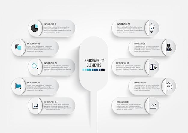 Modèle d'infographie avec des cercles de papier 3d