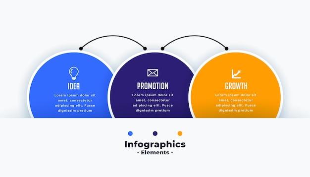 Modèle d'infographie de cercles se connectant les uns aux autres