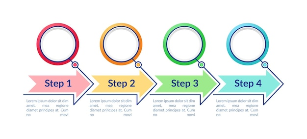 Modèle d'infographie de cercles vides. éléments de conception de présentation de flèches colorées