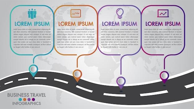 Modèle d'infographie de la chronologie 4 options de conception avec un chemin et des pointeurs de navigation