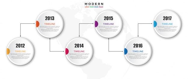 Modèle d'infographie de la chronologie avec l'année