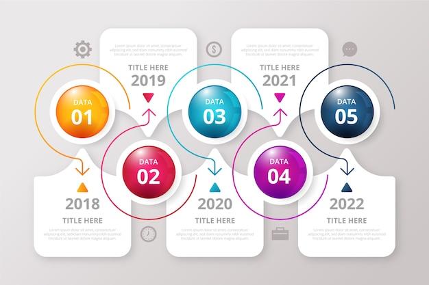 Modèle d'infographie de chronologie brillante réaliste