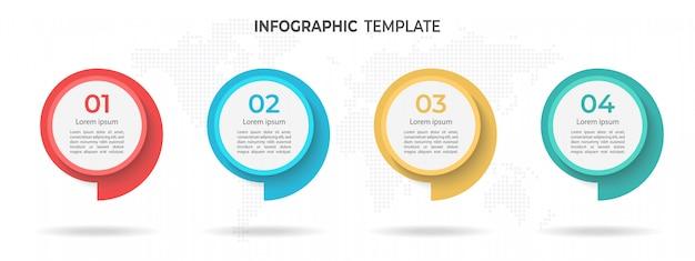 Modèle d'infographie de chronologie de cercle moderne 4 options.