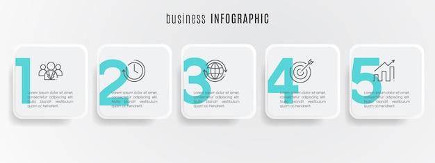 Modèle d'infographie de chronologie de cercle moderne 5 étapes