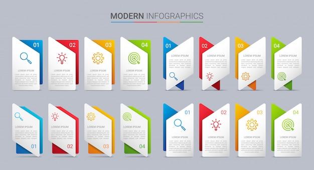 Modèle d'infographie de chronologie colorée avec 4 étapes