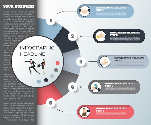 Modèle d'infographie de chronologie de concept d'entreprise papier réaliste 5 étapes bannière de vecteur d'infographie