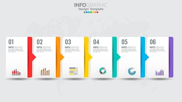 Modèle d'infographie de chronologie avec diagramme de processus de flux de travail à 6 éléments.
