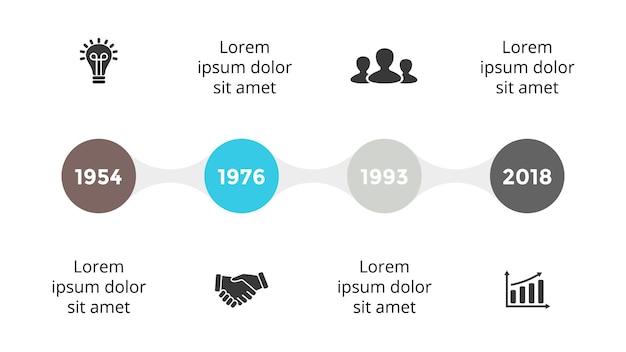 Modèle d'infographie de la chronologie diapositive de présentation de la feuille de route graphique en 4 étapes