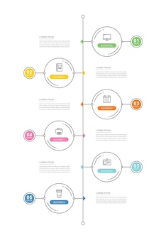 Modèle d'infographie de chronologie de données de cercle avec une fine ligne.