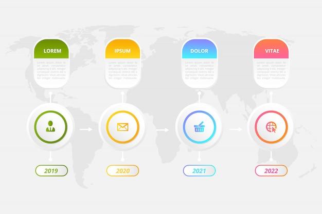 Un modèle d'infographie de la chronologie avec des éléments marketing peut être utilisé pour la présentation de flux de travail