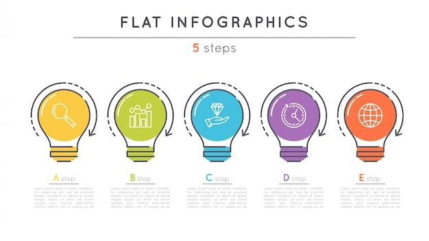 Modèle d'infographie de chronologie d'étapes plates.