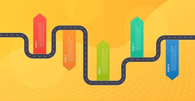 Modèle d'infographie de la chronologie, flux de travail, diagramme de processus. illustration vectorielle