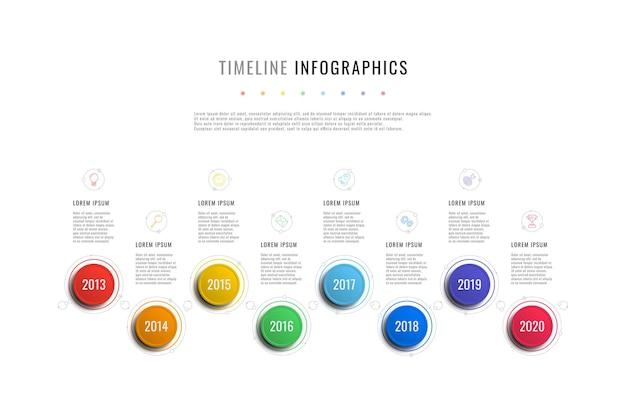 Modèle d'infographie de chronologie horizontale avec des indicateurs d'année d'éléments ronds et des zones de texte